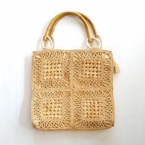 VINTAGE • woven cornhusk straw bag bamboo handles